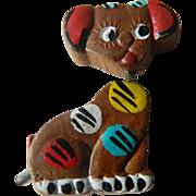 1930's folk art-Bobble head Dog pin