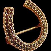 Czech. 10k-gold filled Horse shoe Pin