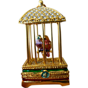 SALE Bird cage with trembling birds- Trinket box