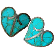 Vintage Mexican sterling-natural Turquoise earrings