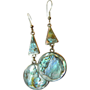 Beautiful long- dangling-Abelone and sterling Earrings