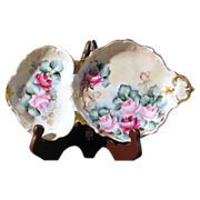 T&V Limoges Tray/ Dish Hand Painted Sardine -Plate  Roses ,Circa 1907