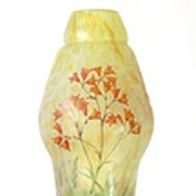 Daum Nancy Tall Acid Etched and Enameled Cameo Vase