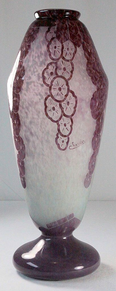 """Large Le Verre Francais """"Lavande""""  Pattern Vase by Schneider"""