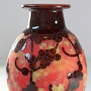 "Le Verre Francais ""Perliere""  Pattern Cameo Vase by Schneider"