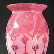 """Le Verre Francais Large """"Garances""""  Cameo Vase by Schneider"""