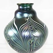 Orient & Flume Green Iridescent Pulled Pattern Vase