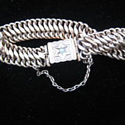Vintage 14K Gold Bracelet w/Pearl Inset & Safety Chain 15.13 grams
