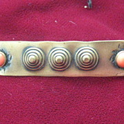 Vintage Brass Art Pin with Coral