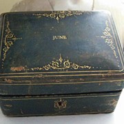 "REDUCED: Adorable Antique Jewelry Box with Gold Scrolled Tooling ""JUNE"""