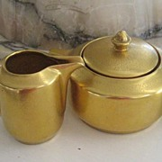 Vintage Pickard Gold China Cream and Sugar