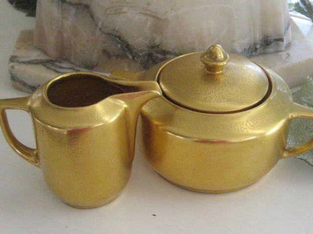 Vintage Pickard Gold China Cream and Sugar