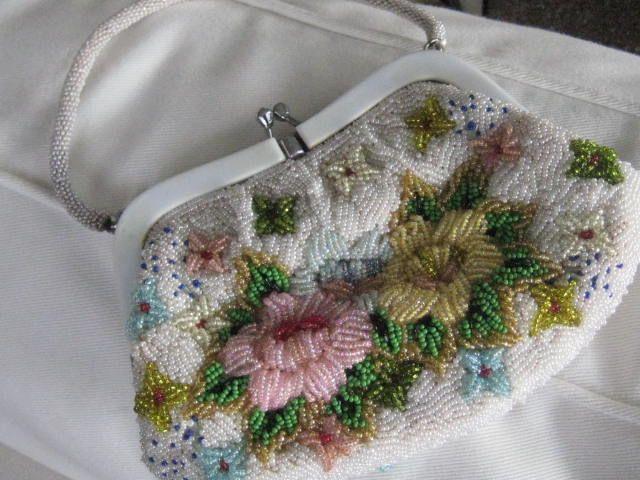 SALE: Vintage Heavily Beaded White Purse w/Beaded Pearl Handle