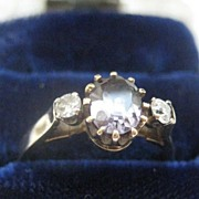 English Vintage Gold Ring - Pale Amethyst Stone & Diamonds Size 7 1/4