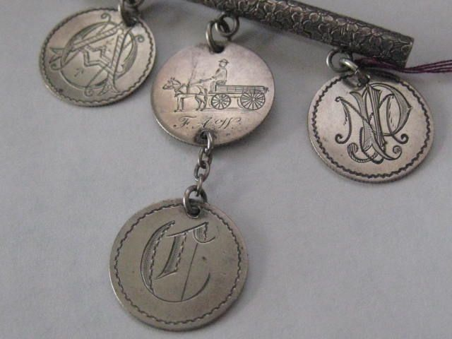 Victorian Silver Engraved Bar Pin w/US Monogrammed Love Tokens