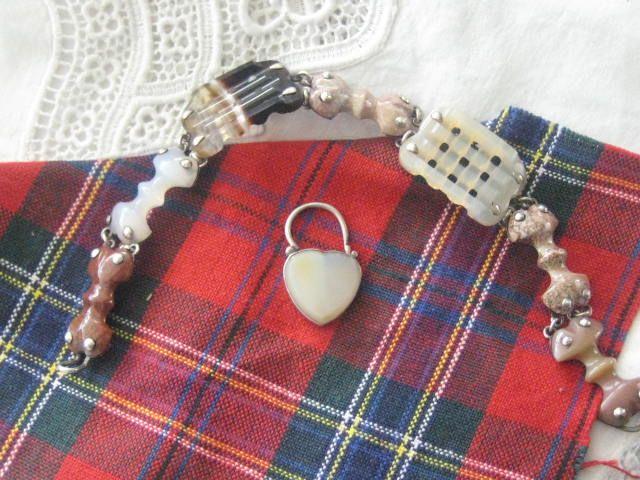 Scottish Victorian Agate Bracelet with Heart Lock