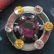 Early 1900s Scottish Silver Brooch, Amethyst with 6 Other Stones