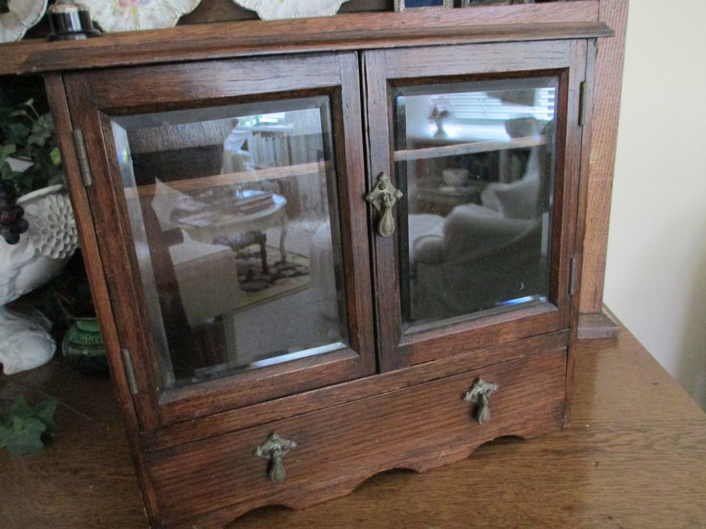 Antique Mahogany Smoker Chest with Beveled Glass Doors