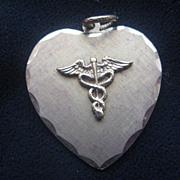 Vintage Medical Symbol Heart-Shaped Charm Pendant