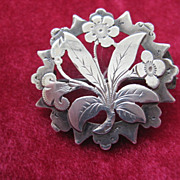 Early 1900s English Hallmarked Silver Floral Brooch