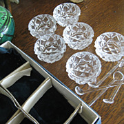 Set of Six Vintage Cut Glass Salts with Original Glass Spoons