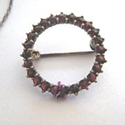 Early Vintage Garnet Circle Brooch