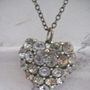 Pretty Vintage Heart Shaped Paste Necklace