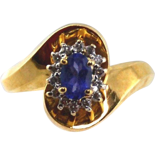 Tanzanite & Diamond Ladies Ring14kt Yellow Gold