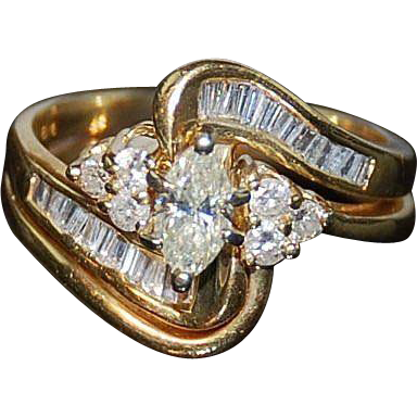 Diamond Engagement  Ring Set 14kt Two Tone Gold -5 1/2