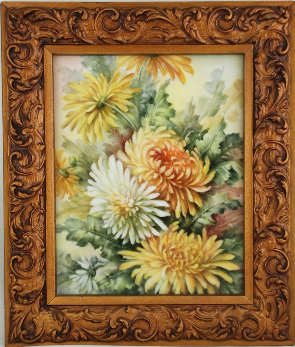 Hand Painted Porcelain Tile Painting of Chrysanthemums by Surber
