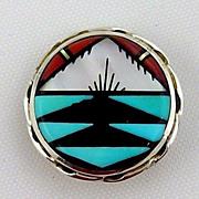 Sterling Silver Pendant / Brooch, Native American Zuni