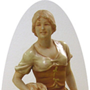 Large Porcelain Figurine of Young Farm Girl by Royal Dux