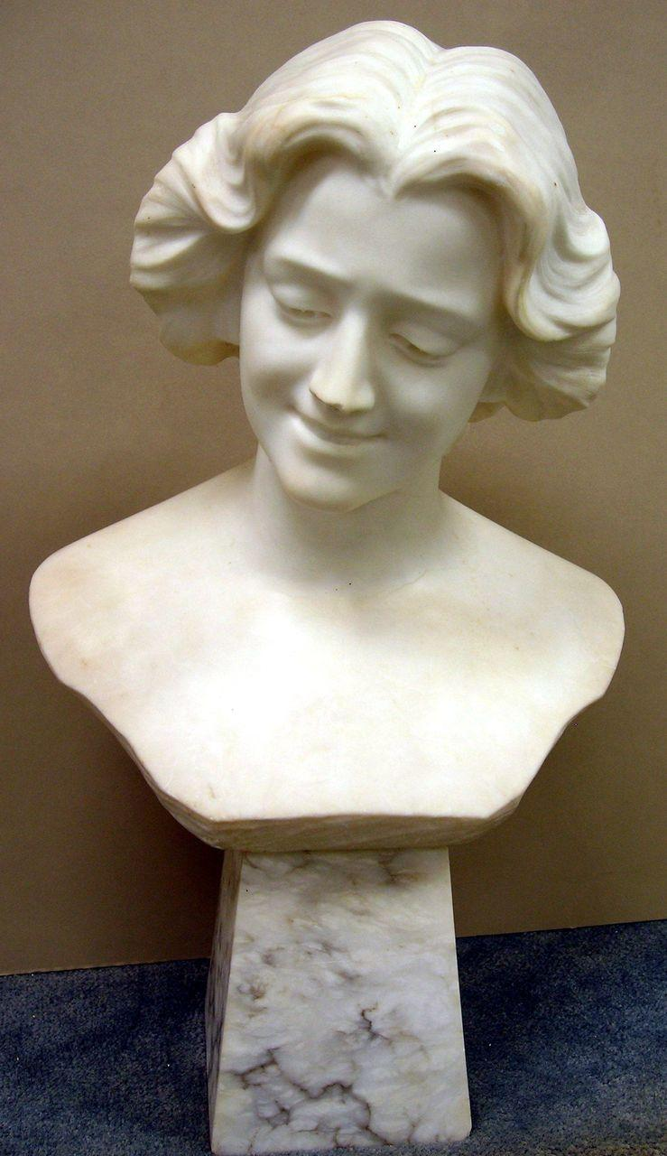 Carved Marble Sculpture Bust of a Woman - Early 20th Century