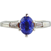 Sapphire & Diamond Ladies  Ring 14kt White Gold