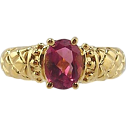 Pink Tourmaline Ring 14kt Yellow Gold