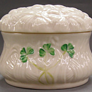 Irish Belleek  Lidded Dish- 'Shamrock' Pattern