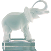 Lalique Clear Frosted Crystal Elephant