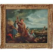 Antique Oil Painting 'By The Sea'  by C. Larson, 1852