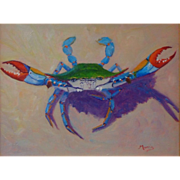 "Original Oil Painting ""Crabby Lady"" by Suzanne Goodwin Morris"