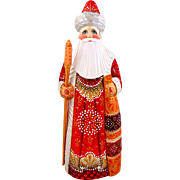 Russian Santa Red & Gold-Hand Carved & Painted