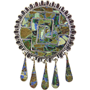 Vintage Sterling Silver & Stone Mexican Pin/Pendant