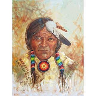 "Original Oil Painting ""Navajo Chief"" by Robert Yellowhair - Native American Indian"