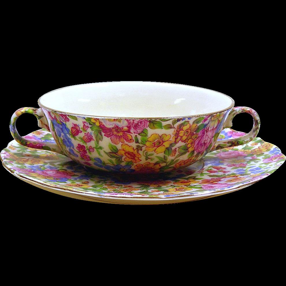 Chintz Soup Bowl and Plate - Portland, Erphila