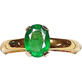 Emerald Ring18kt Yellow Gold , Size 5 3/4