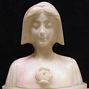 Antique Alabaster Sculpture of Anne of Cleves, Signed