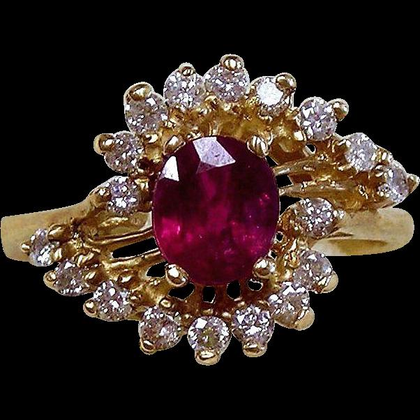Ruby & Diamond Ring 14kt Yellow Gold , Size 5 1/2