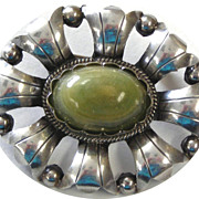 Sterling Silver Pin With Green Agate Cabochon