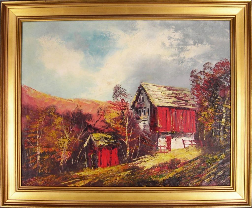 Red Barn In Autumn, 20th C. American Oil Painting