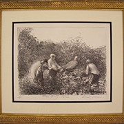 Children in Berry Patch, Original Lithograph by Frank Mason