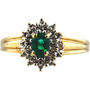 Emerald & Diamond Ring 10k Two Tone Gold , Size 7 3/4